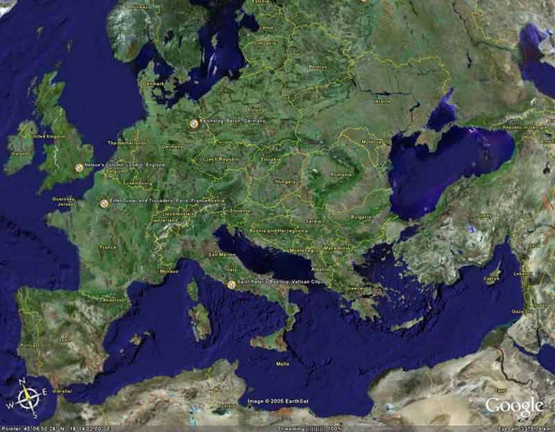 An Earth.Google view covering the UK & Cyprus